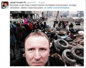 Najsłynniejsze 'selfie' - Jacek Kurski twittuje z kijowskiego Majdanu
